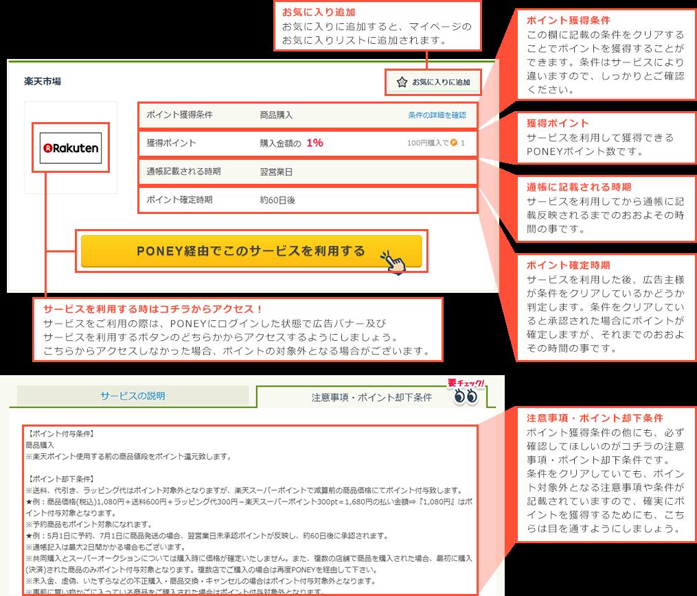サービスをご利用の際は、PONEYにログインした状態で広告バナー及びサービスを利用するボタンのどちらかからアクセスするようにしましょう。こちらからアクセスしなかった場合、ポイントの対象外となる場合がございます。